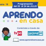 HORARIO DE LA SEMANA 16 #YOAPRENDOENCASA